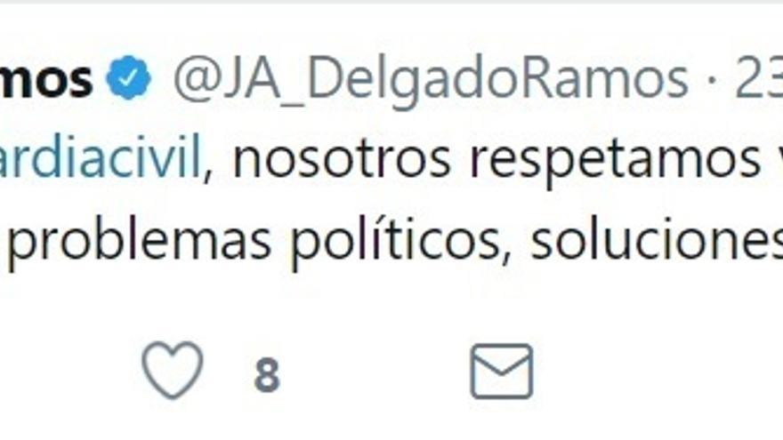 """Delgado (Podemos) muestra su solidaridad con la Guardia Civil pero reclama """"soluciones políticas"""" para Cataluña"""