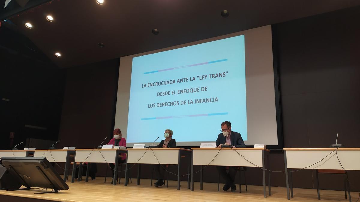 """Acto """"la encrucijada ante la ley trans"""" de la UPV."""