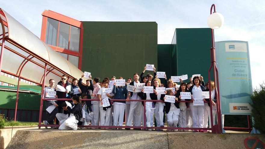 Protesta de los trabajadores de las residencias en Huesca el pasado miércoles