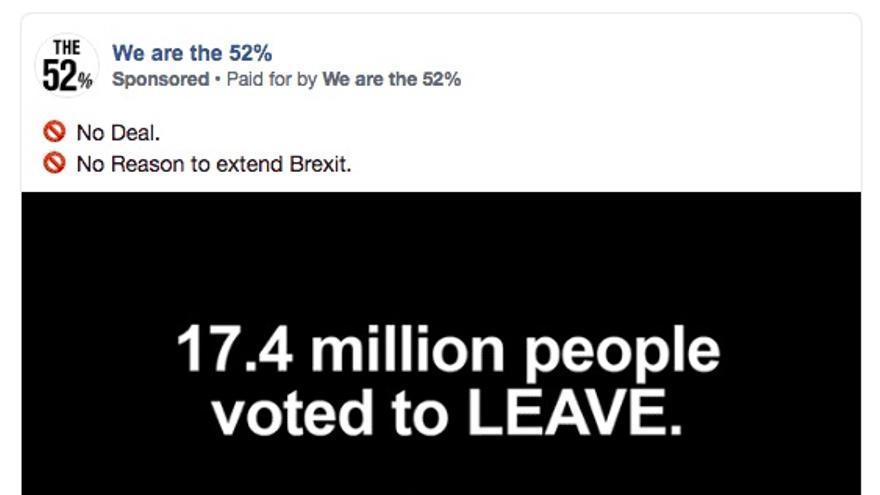 Imagen de un anuncio a favor del Brexit promovido por la página 'We are the 52%'.
