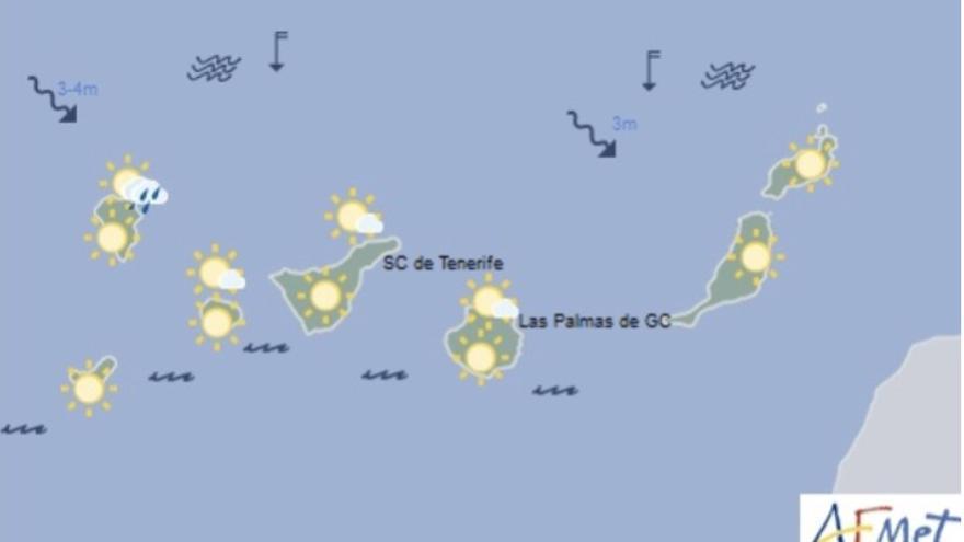 Mapa del tiempo de la Aemet para este jueves, 19 de abril de 2018.