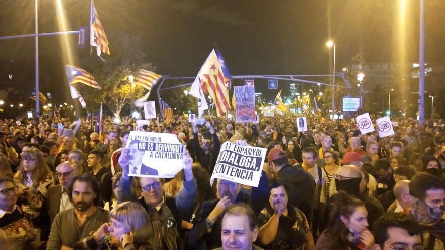Manifestación contra la visita de Felipe VI a Barcelona
