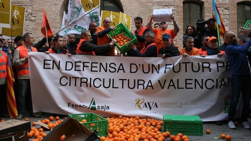 Imagen de una protesta de citricultores valencianos