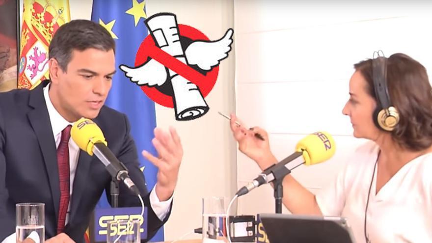 Pedro Sánchez responde a la periodista Pepa Bueno durante la entrevista concedida al programa Hoy por Hoy