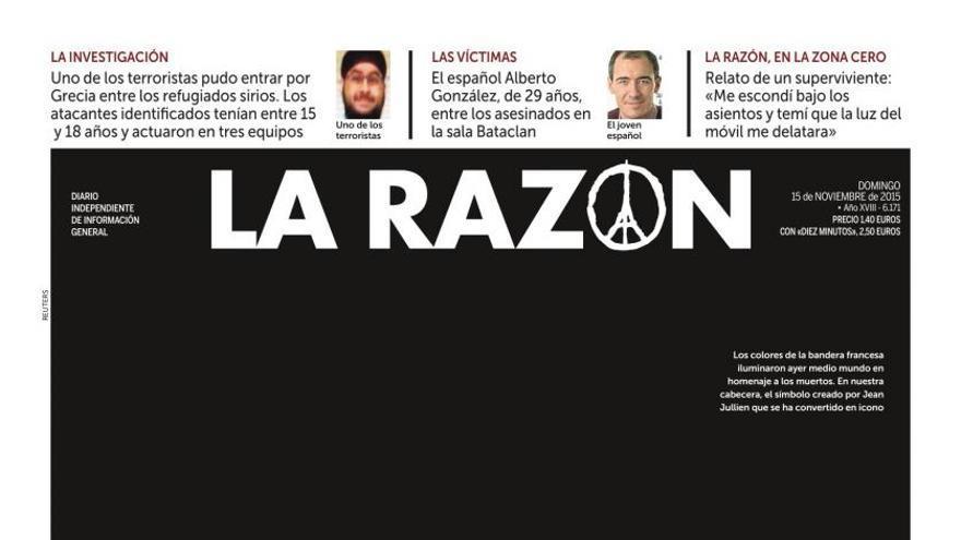 Portada del periódico La Razón de este sábado, 15 de noviembre de 2015.