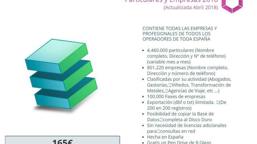 Base de datos masiva a la venta en la web de Iberinfo