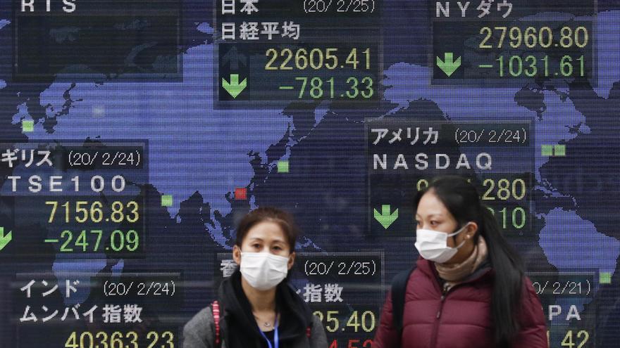 Dos mujeres japonesas pasan ante índices bursátiles que caen por el impacto del coronavirus.
