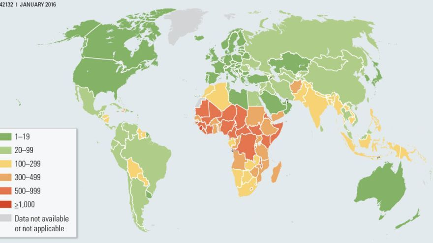 Tasas de mortalidad materna e infantil durante 2015 / Banco Mundial
