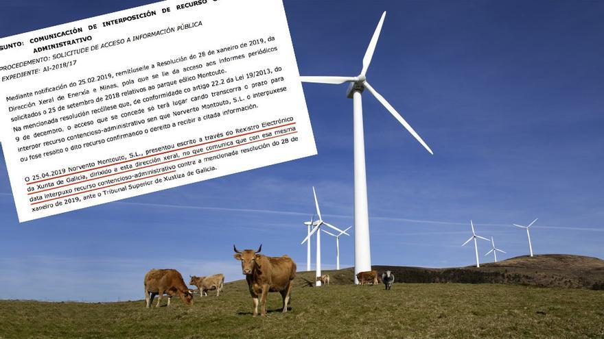 Imagen de Norvento de su parque eólico de Montouto y comunicación en la que la Xunta informa de que la empresa le ha presentado un recurso contencioso-administrativo
