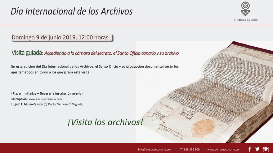 Cartel de la visita guiada al Museo Canario.