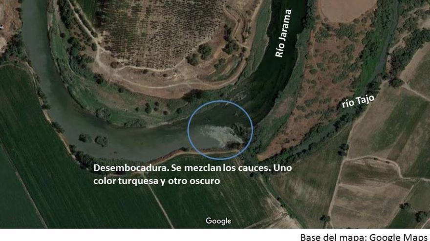 Desembocadura del Jarama en el Tajo / Google Maps / Jonathan Gómez