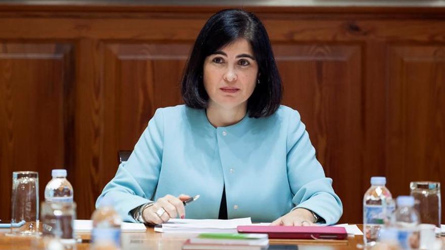 La presidenta del Parlamento de Canarias, Carolina Darias, durante la reunión de la Junta de Portavoces de la Cámara autonómica