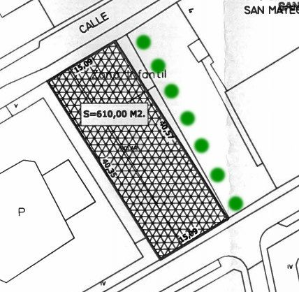 Plano oficial de la parcela, con los árboles dibujados sobre ella   SOMOS MALASAÑA