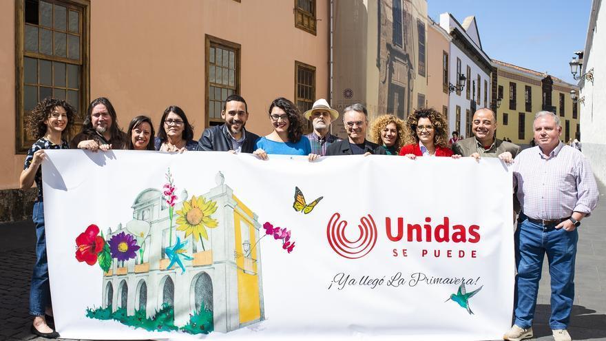 Foto de familia de Unidas Se Puede, este lunes en La Laguna