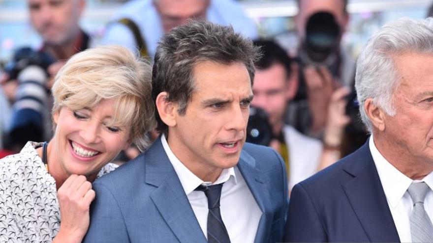 Emma Thompson, Ben Stiller y Dustin Hoffman, en el photocall oficial del Festival de Cannes