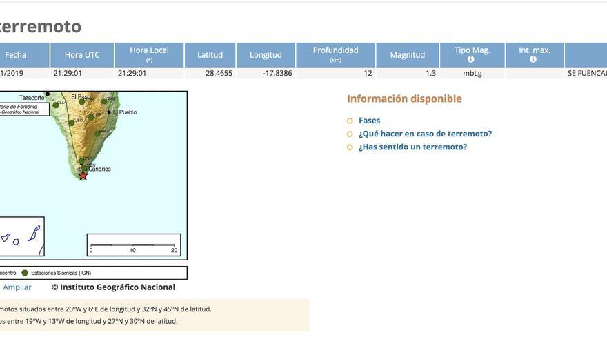 Información del terremoto registrado por el IGN este jueves, 28 de noviembre, en el municipio de Fuencaliente.