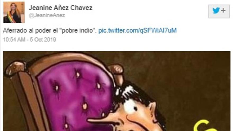 Imagen del tuit borrado por Jeanine Áñez y guardado en Web Archive