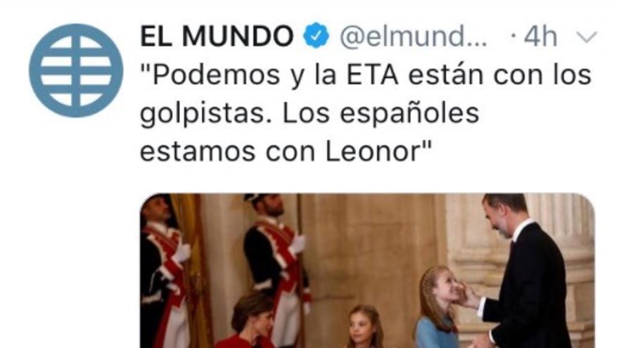 Tuit del diario `El Mundo´