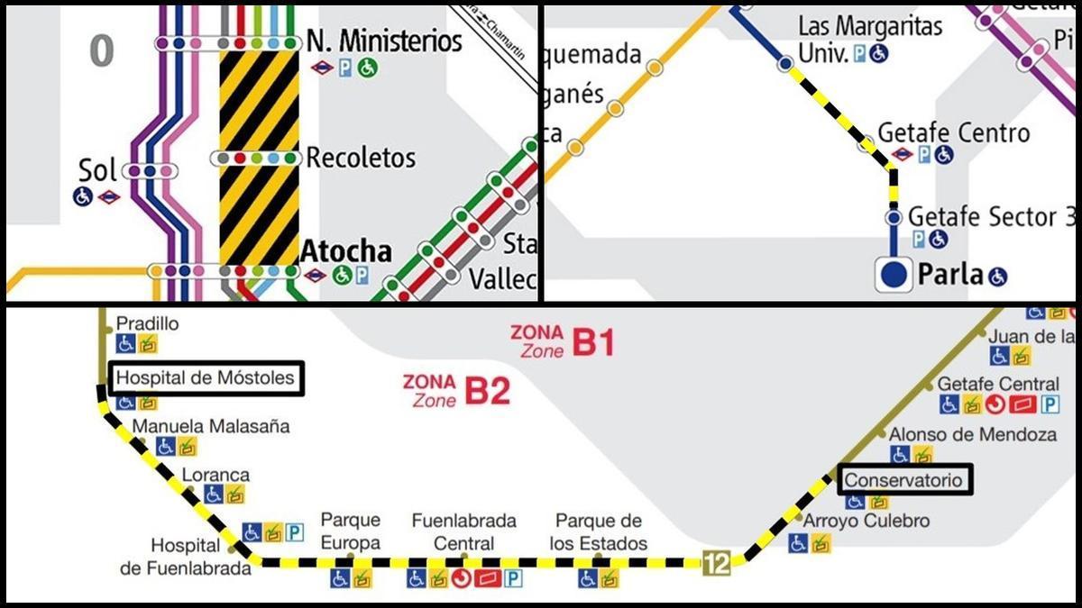 Tres de los cortes en el servicio previsto en las líneas de Cercanías y de Metro en Madrid durante el verano de 2021