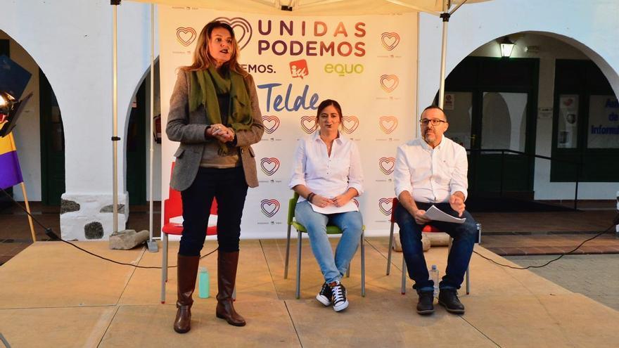 Esther González (Podemos), Celeste Martel (Equo) y César Santana (IU), candidatos de Unidas Podemos a la Alcaldía de Telde.