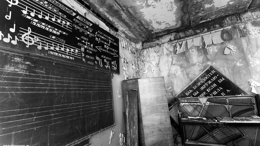 La clase de música de una escuela en Prípiat
