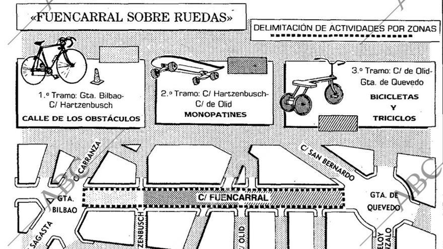 Mapa de la peatonalización de Fuencarral en 1990, publicado por el diario ABC
