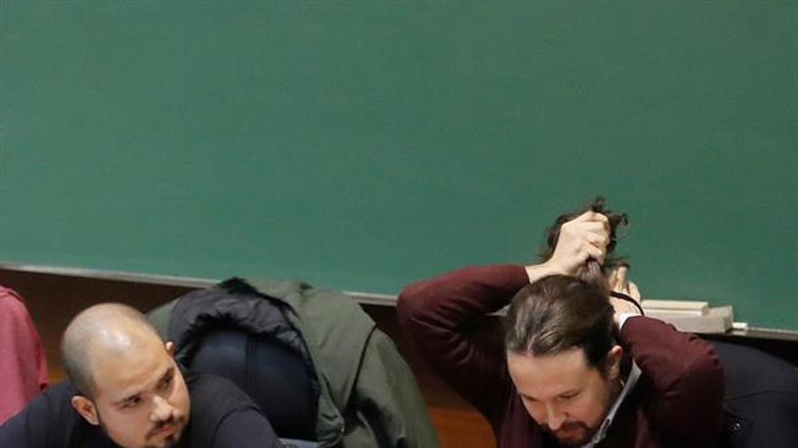 Pablo Iglesias, antes de la conferencia el pasado jueves en la Facultad de Derecho de la UCM.
