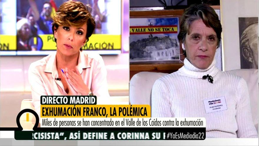 La franquista Pilar Gutiérrez interviene en el programa Ya es Mediodía de Telecinco.
