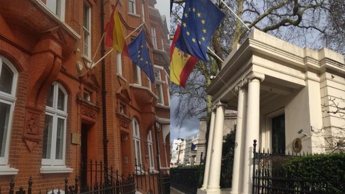 Montaje con las imágenes de la sede del consulado español en Londres y de la embajada en el Reino Unido