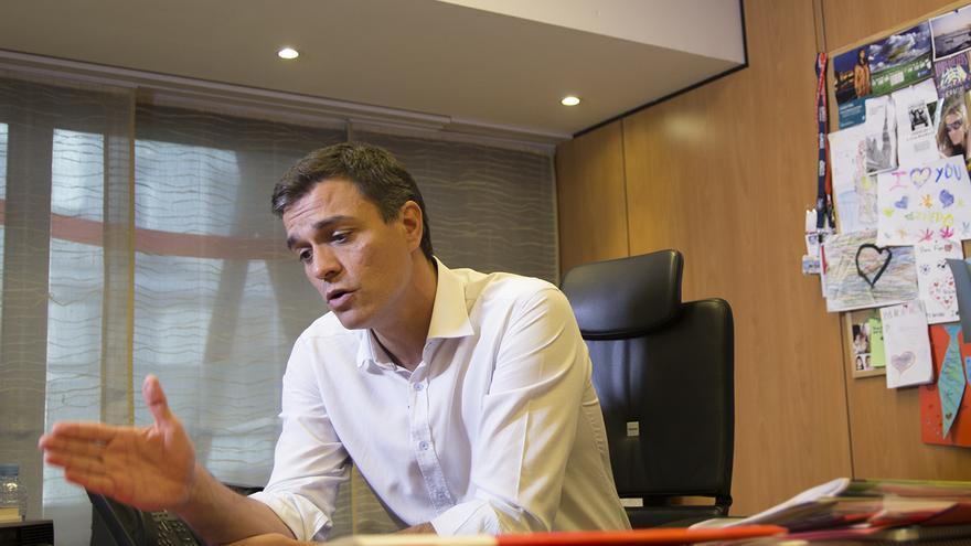 El secretario general del PSOE, Pedro Sánchez, durante la entrevista   DAVID CONDE