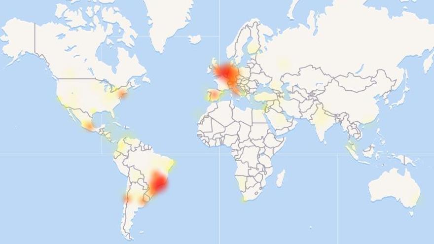 Mapa de los países donde WhatsApp ha experimentado caídas, según downdetector.com