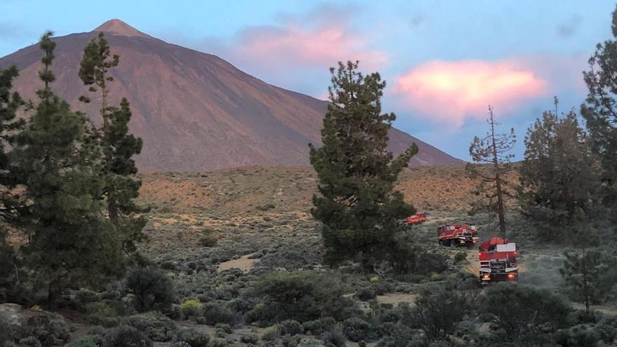 Efectivos de Bomberos en la zona del Parque Nacional del Teide donde se ha producido el incendio
