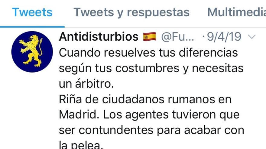 Captura del tuit con contenido racista del portavoz policial Miguel Z.