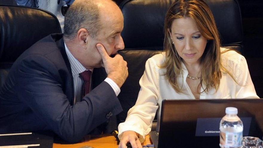 Los consejeros de Economía y de Hacienda, Pedro Ortega y Rosa Dávila, antes de comenzar la reunión del Consejo de Gobierno de Canarias. EFE/Cristóbal García