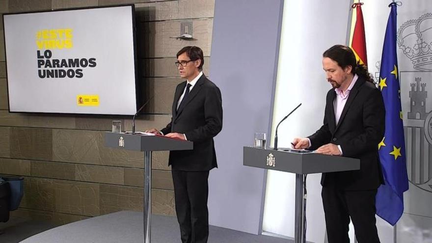 El vicepresidente del Gobierno, Pablo Iglesias, comparece junto al ministro de Sanidad, Salvador Illa, para explicar las medidas en materia de Asuntos Sociales por la crisis del coronavirus.