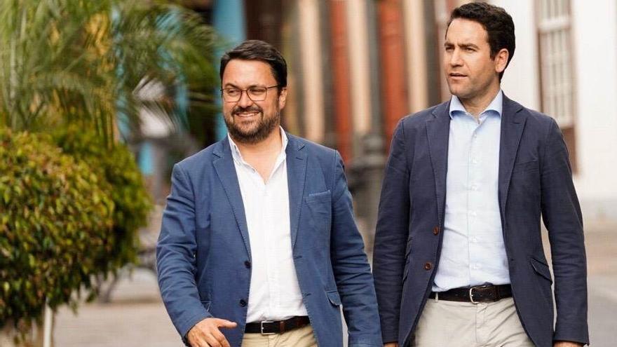 Asier Antona, candidato a la Presidencia del Gobierno de Canarias del PP, y Teodoro García Egea, secretario general del PP.