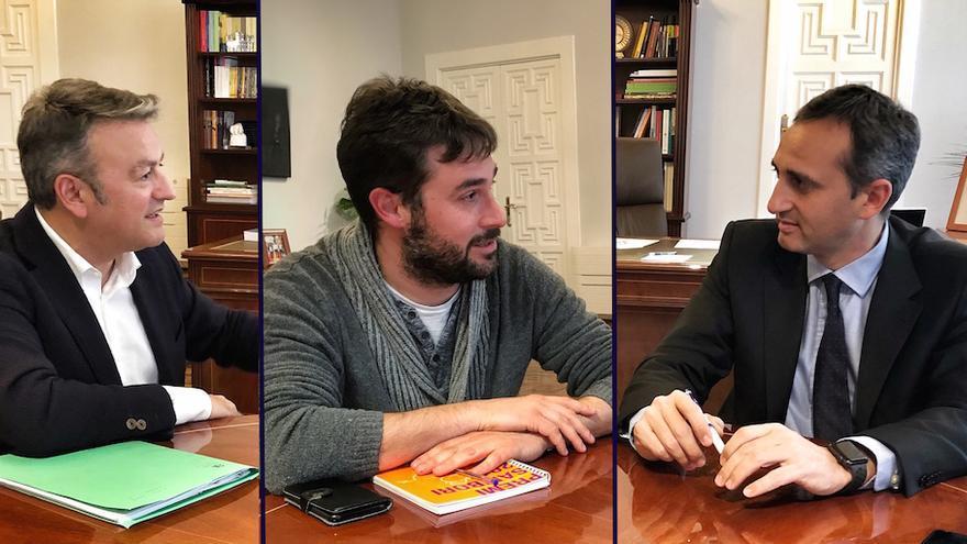 José Chulvi (PSPV), Gerard Fullana (Compromís) y el presidente de la Diputación de Alicante (César Sánchez)