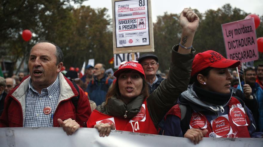 No faltaron a la cita los trabajadores y trabajadoras de Coca Cola, convertidos en un símbolo de la lucha obrera. \ Olmo Calvo