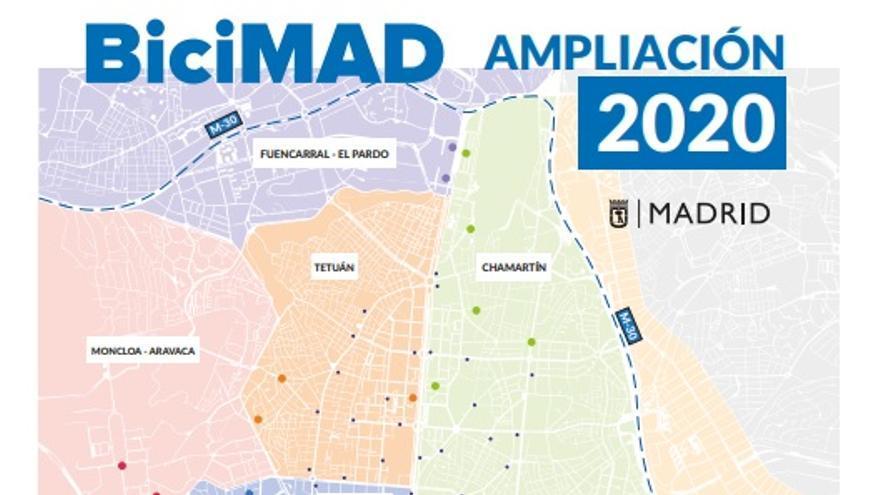 Ampliación de BiciMad a cinco distritos más, con 50 estaciones nuevas. / Ayuntamiento de Madrid
