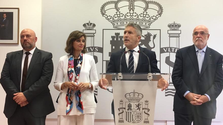 Fernando Grande-Marlaska, en la rueda de prensa ofrecida en la Subdelegación del Gobierno en Gipuzkoa