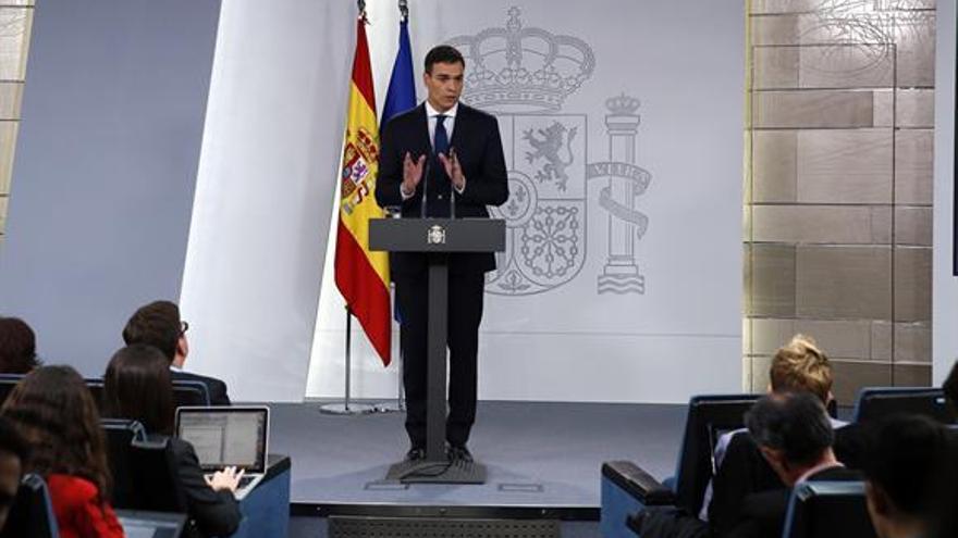 El presidente del Gobierno, Pedro Sánchez, en la presentación del Consejo de Ministros.