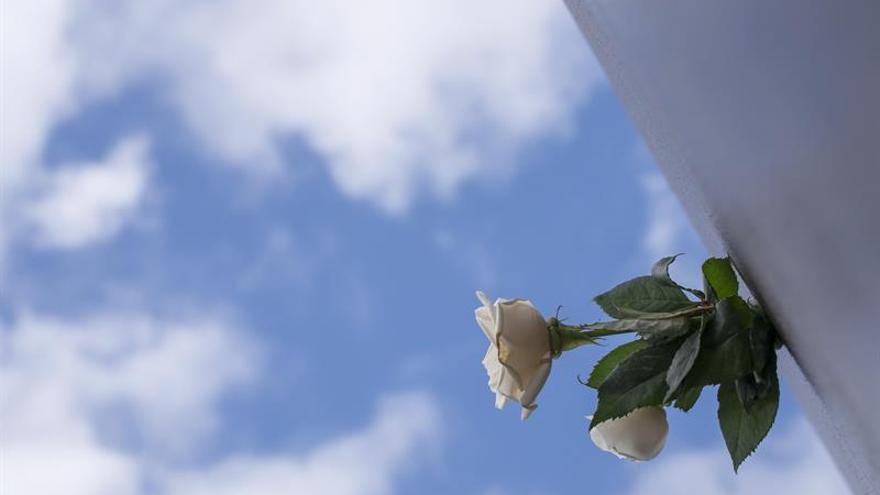 Detalle del homenaje celebrado en la prolongación del paseo de la playa de Las Canteras, a las víctimas del accidente del vuelo de Spanair JK5022 ocurrido en el aeropuerto de Barajas, en su octavo aniversario. Familiares y supervivientes del accidente aéreo que causó 154 muertos y 18 heridos, han reafirmado su voluntad de seguir luchando contra el que consideran el principal escollo en el esclarecimiento de esta catástrofe: la Justicia. EFE/Ángel Medina G.