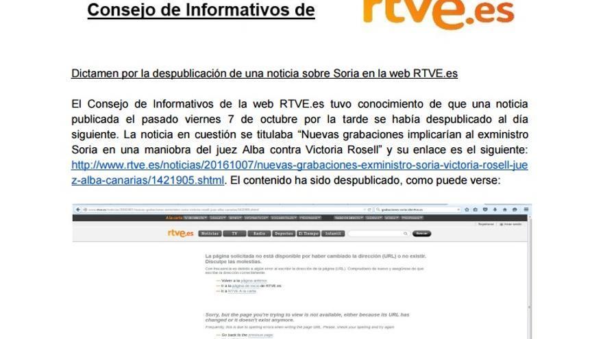 """Dictamen el Consejo de Informativos de RTVE, que considera a la subdirección de Información de la web de Noticias responsable de """"un acto de censura""""."""