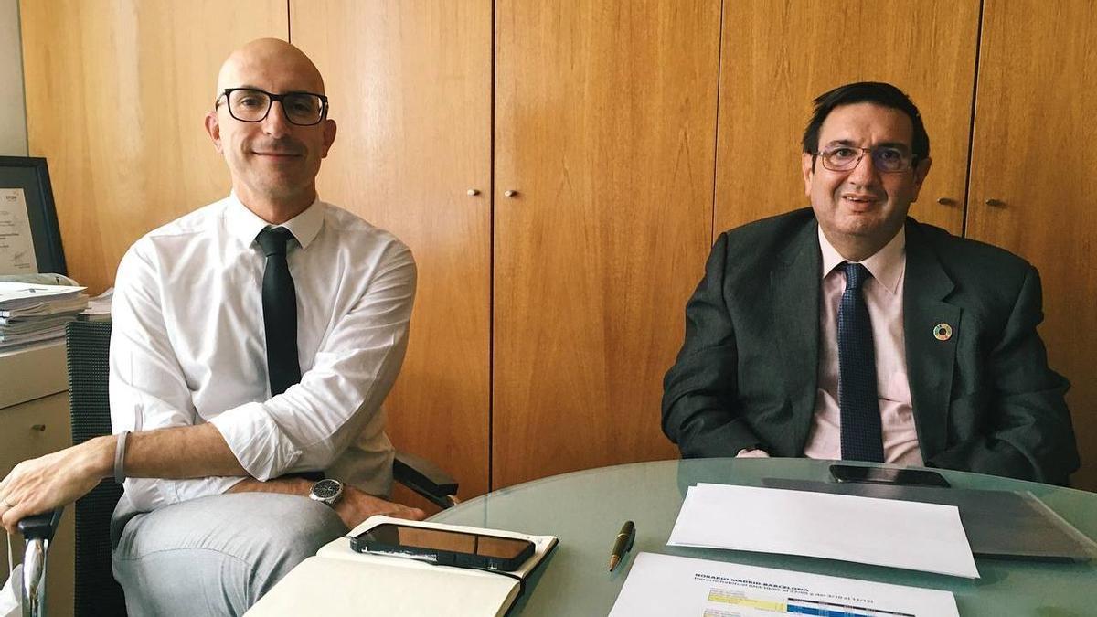Raúl Míguez, director adjunto de Adif, y José Estrada, director general de circulación y gestión de capacidad de Adif