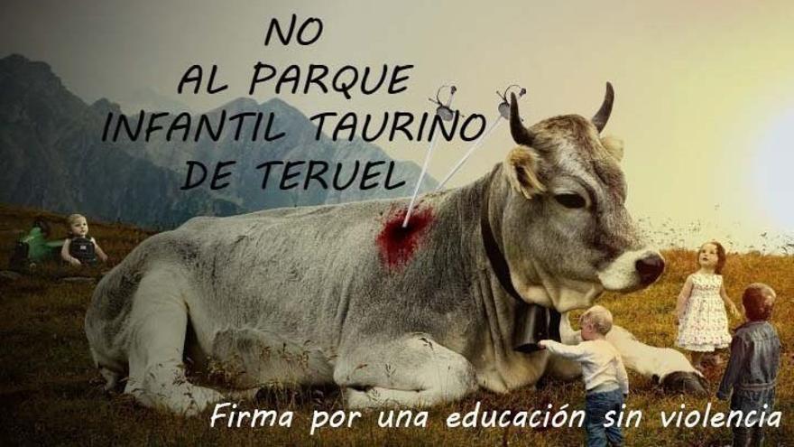 Cartel de la campaña contra el parque infantil taurino de Teruel