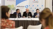 Momento de la presentación de este lunes en el hotel Mencey, con miembros de la ULL, Ashotel y CaixaBank