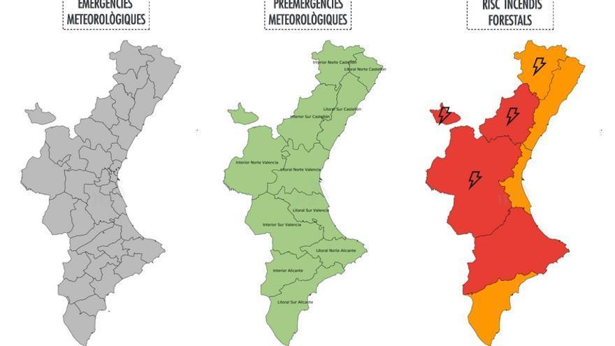 Mapa d'alertes del risc d'incendis d'este dimarts 27 de juny