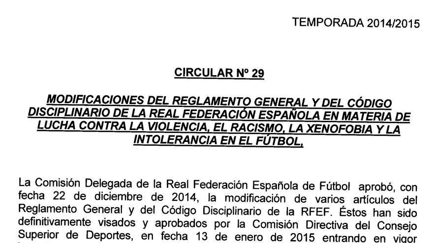 Circular aprobada por la federación española en enero de 2015.