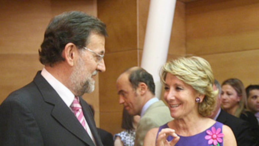 Presidenta de la Comunidad de Madrid, Esperanza Aguirre, y el presidente del PP,