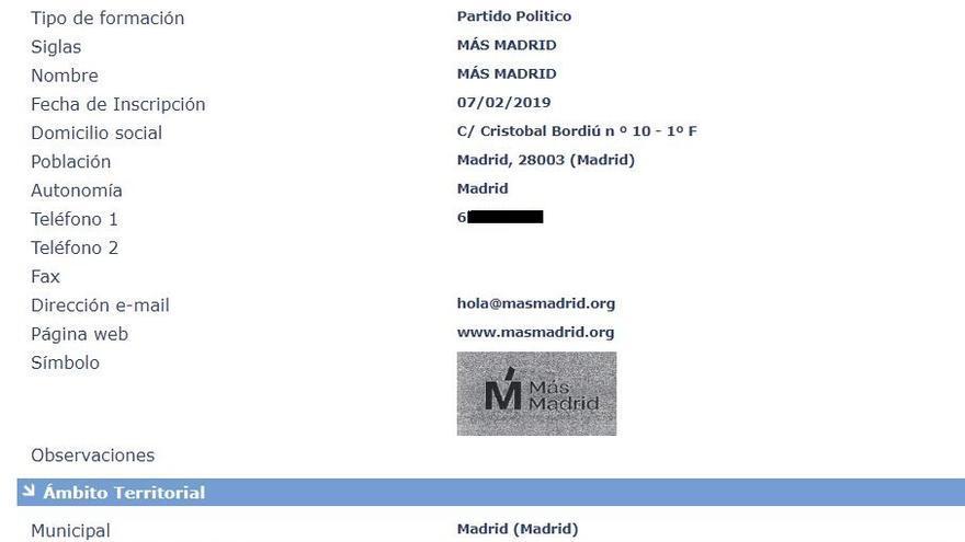 Ficha del registro de Más Madrid como partido político ante el Ministerio del Interior.